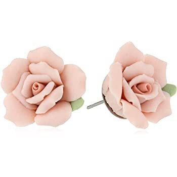Amazon.com: 1928 Jewelry Classic Ivory Color Porcelain Rose Post Stud Earrings: Jewelry
