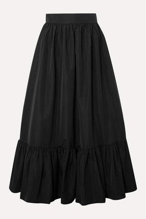 Tiered Cotton-blend Poplin Midi Skirt - Black