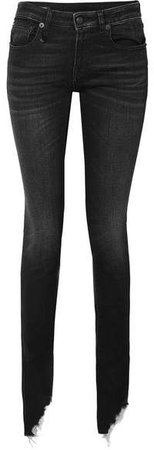 Kate Distressed Low-rise Skinny Jeans - Black