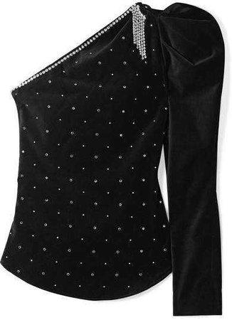 Isabel Marant Zeke Crystal-embellished One-shoulder Velvet Top - Black
