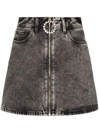 Alessandra Rich crystal-embellished Denim Mini Skirt