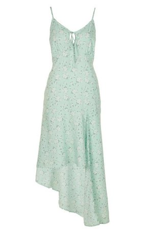 Woven Floral Tie Front Asymetric Midi Dress   boohoo mint
