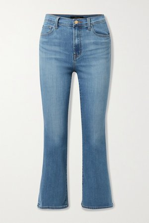 Franky Cropped High-rise Bootcut Jeans - Mid denim