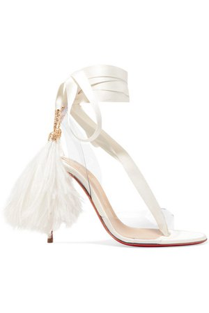 Christian Louboutin | Marie Edwina 100 feather-trimmed satin and PVC sandals | NET-A-PORTER.COM