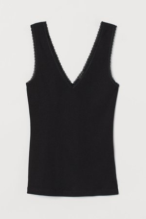 Ribbed Lace-trimmed Tank Top - Black