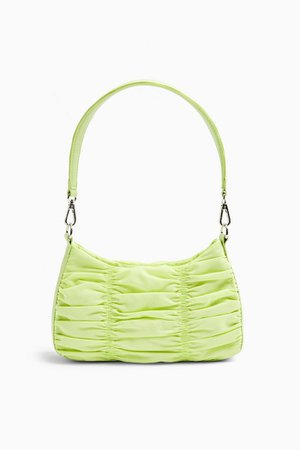 Lime Green Ruched Nylon Shoulder Bag | Topshop