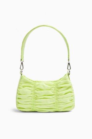 Lime Green Ruched Nylon Shoulder Bag   Topshop