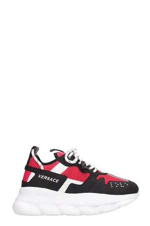 Versace Chain Reaction Logo Black Red Sneakers