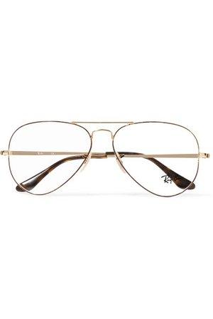 Ray-Ban   Aviator gold-tone and tortoiseshell acetate optical glasses   NET-A-PORTER.COM