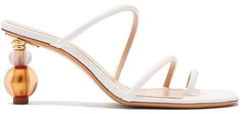 Noli Bead Heel Leather Sandals - Womens - White