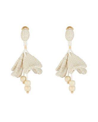 Oscar de la Renta Raffia & Wood Ball Drop Earrings   INTERMIX®