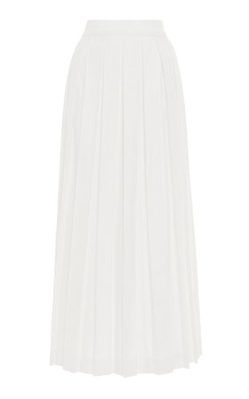 Pleated Linen-Blend Skirt by Luisa Beccaria | Moda Operandi