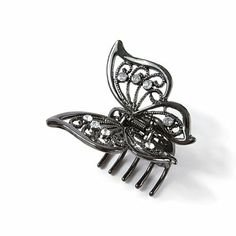Hematite and Crystal Butterfly Hair Clip