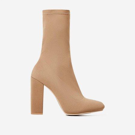 Hayden Block Heel Sock Boot In Nude Lycra   EGO