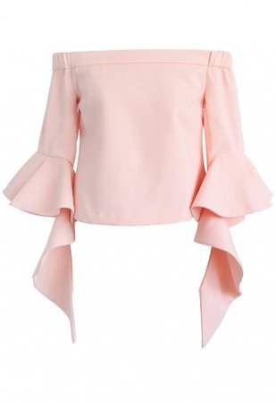 Ethereal Frilling Off-shoulder Top in Pink - Retro, Indie and Unique Fashion