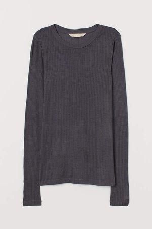 Ribbed Silk-blend Top - Gray