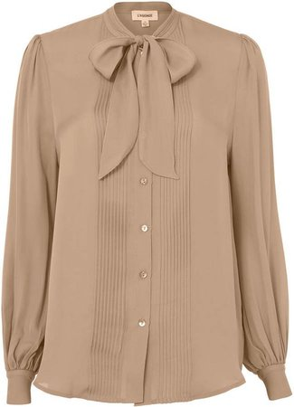 L'Agence Brooke Tie Neck Pleated Blouse