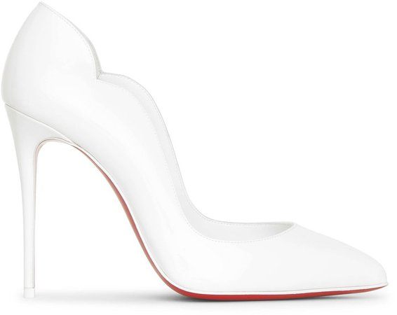 Hot Chick 100 white patent pumps