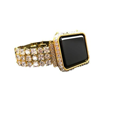 Gold Apple Watch Band, Princes Cut Lab Diamond Bezel Cover, Crystal Iwatch Band Bling, 38mm 40mm 42mm 44mm