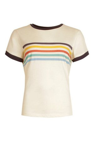 Rainbow Stripe Ringer T shirt   boohoo