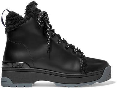 T-rex Shearling-lined Leather Ankle Boots - Black