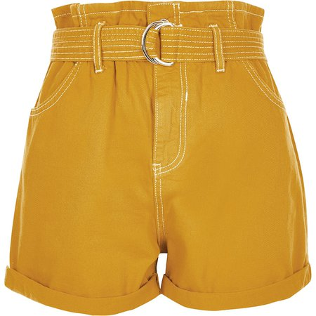 Dark yellow paperbag denim shorts | River Island