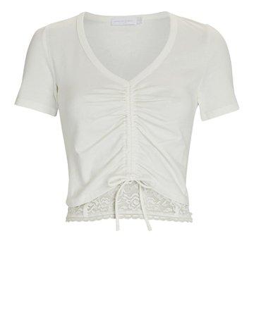 Jonathan Simkhai Standard Aida Lace-Trimmed Ruched T-Shirt | INTERMIX®