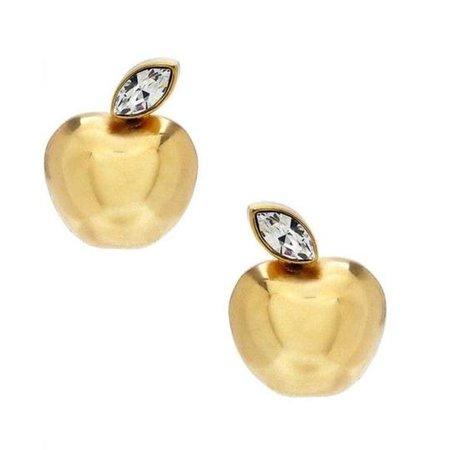 Kate Spade Gold Apple Of My Eye Apple Earrings - Tradesy
