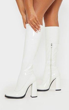 White Knee High Block Heel Sock Boot
