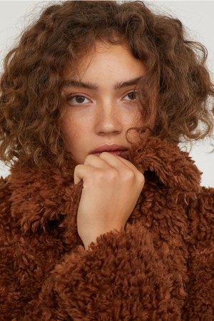 Faux Fur Jacket - Brown -   H&M US