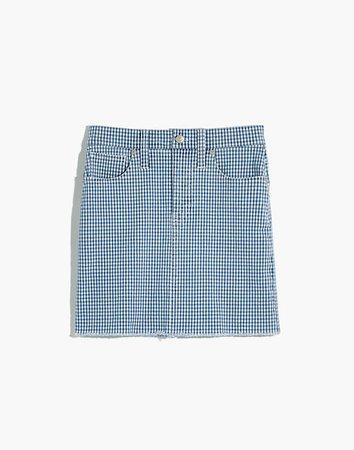 Stretch Straight Mini Skirt in Gingham: Raw-Hemmed Edition