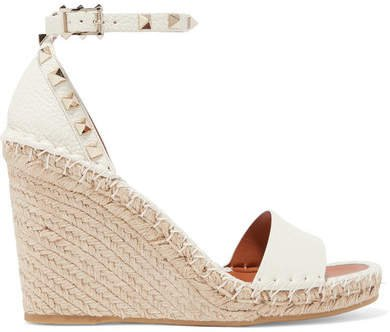 Garavani The Rockstud Textured-leather Espadrille Wedge Sandals - Beige