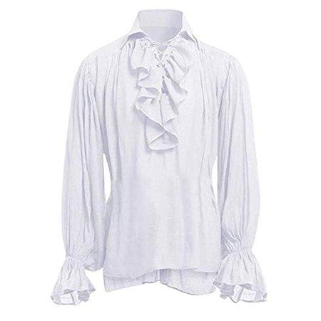 Hstore Men's Renaissance Ruffle Front Pirate Shirt Bandage Long Sleeve Medieval Shirt Gothic Man Blouse White at Amazon Men's Clothing store
