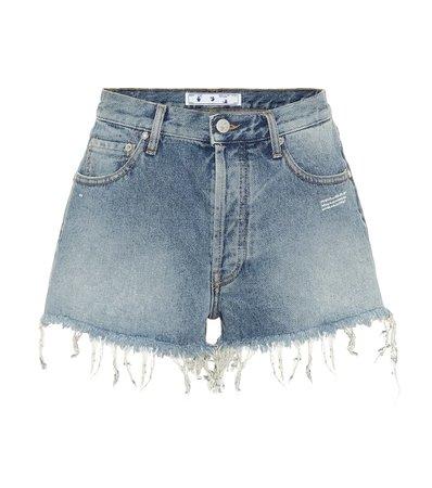 High-Rise Denim Shorts - Off-White   Mytheresa