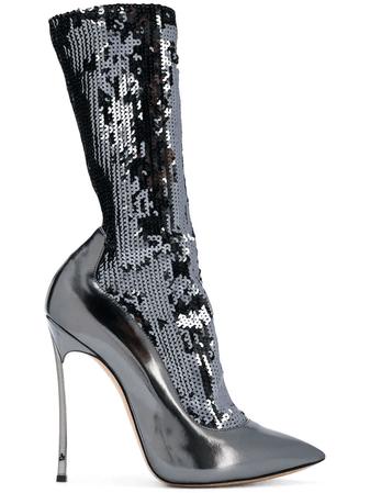 Casadei Sequinned Blade Sock Boots - Farfetch In Metallic | ModeSens