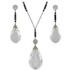 Art Deco Onyx and Diamond Necklace For Sale at 1stdibs