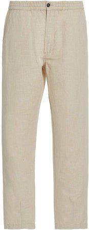Linen and Cotton-Blend Pants