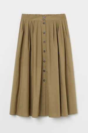 Button-front Cotton Skirt - Green