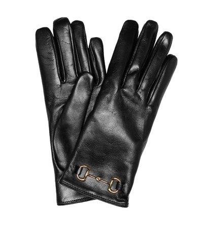 Gucci - Horsebit leather gloves | Mytheresa