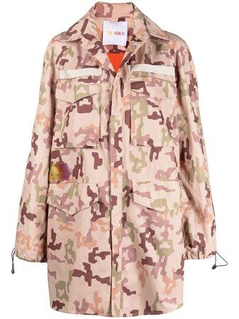 Brown The Attico camouflage-print parka
