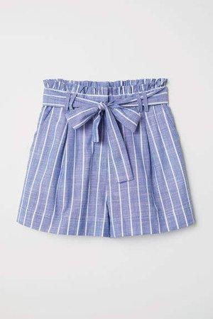 Striped Cotton Shorts - Blue