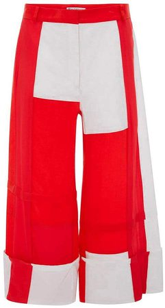 PILLARBOX RED PATCHWORK PANELLED TROUSERS