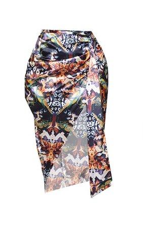 Plus Multi Snake Print Tie Side Midi Skirt   PrettyLittleThing USA
