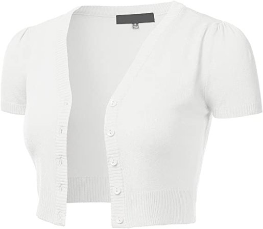 FLORIA Womens Button Down Short Sleeve Cropped Bolero Cardigan Sweater (S-4X) at Amazon Women's Clothing store