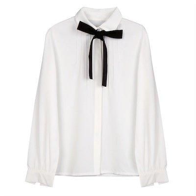 Qoo10 - Ladies Elegant Blouse Bow Tie White Shirt Chiffon Blouses Peter Pan Ca... : Women's Clothing