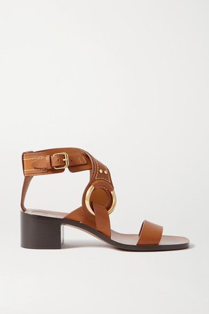 Demi Embellished Leather Sandals - Tan