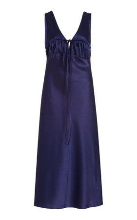 Carolinne Tie-Accented Satin Midi Dress By Ciao Lucia   Moda Operandi