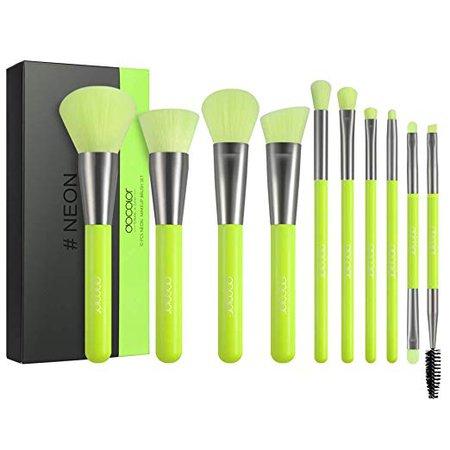 Amazon.com: Docolor Makeup Brushes 10 Piece Neon Green Makeup Brush Set Premium Synthetic Kabuki Foundation Blending Face Powder Mineral Eyeshadow Make Up Brushes Set: Beauty