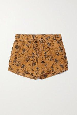 Printed Voile Shorts - Saffron