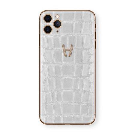 Hadoro iPhone 11 Pro Signature | Alligator - White Gold - Diamonds - Pink – Hadoro Paris